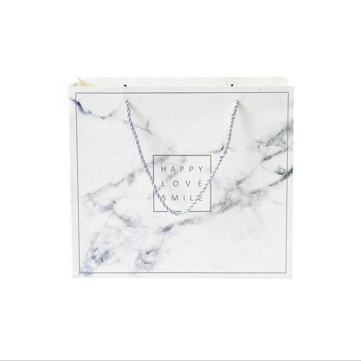 Luxury Marble Printing Jewelry Package Bag Recycled Custom Gift Shopping Paper Bag with Logo