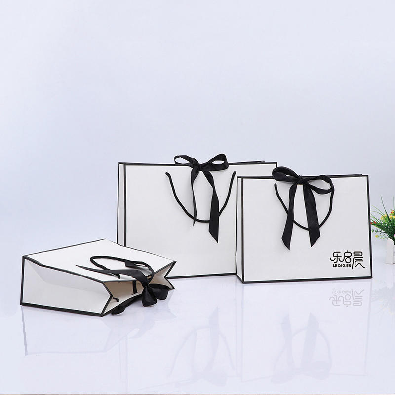 Black White Simple Generous 10 X 5 X 13 Custom Size Gift Paper Bags With Handles For Jewelry Cloth