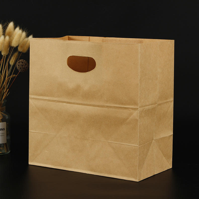 Gift takeaway bag Custom logo brown kraft paper handbag custom creative clothing shopping bag with handle