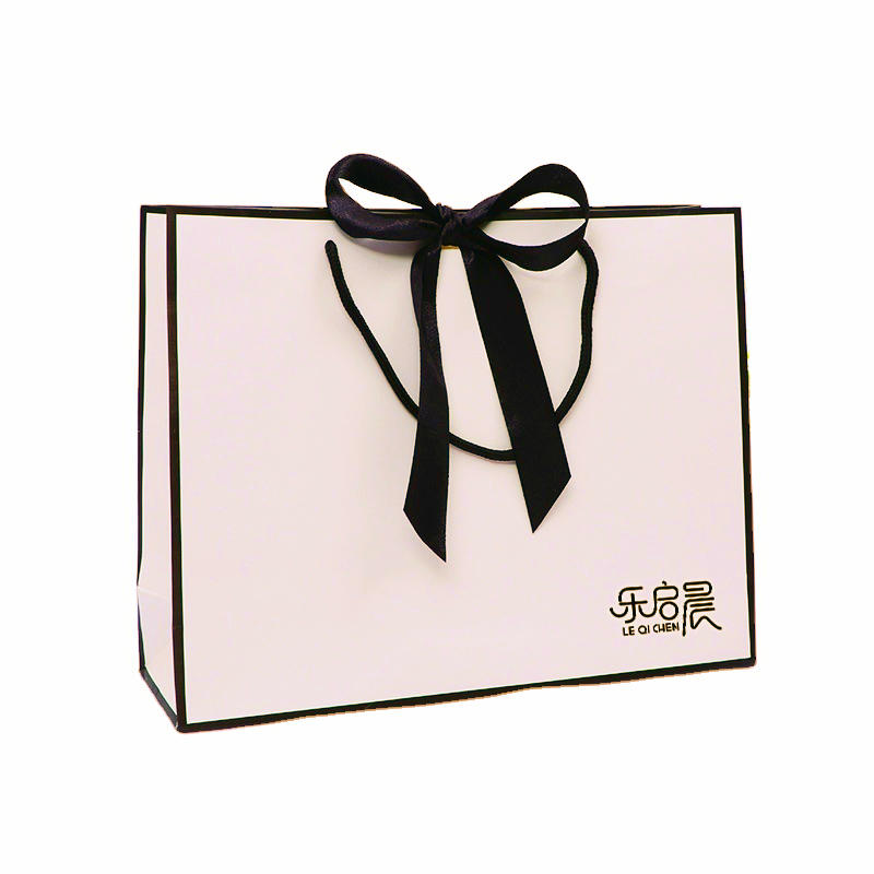 Large pink paper shoe bags gift custom made jewelry bag and box with black ribbon