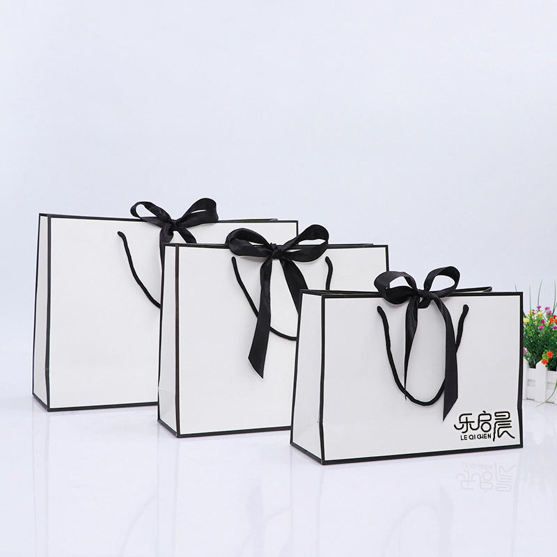 High Quality Medium Size White bag BlackBowknot Gift Paper Bags with Custom Logo Print