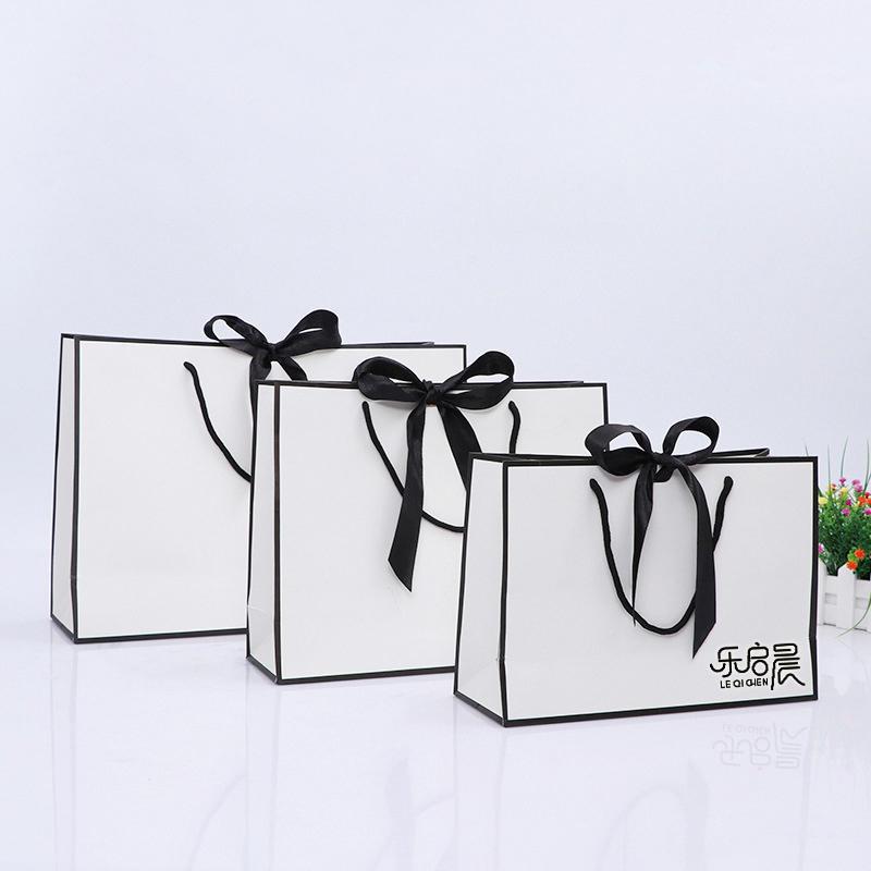 High Quality Medium Size White bag BlackBowknot Gift Paper Bags with Custom Logo Print