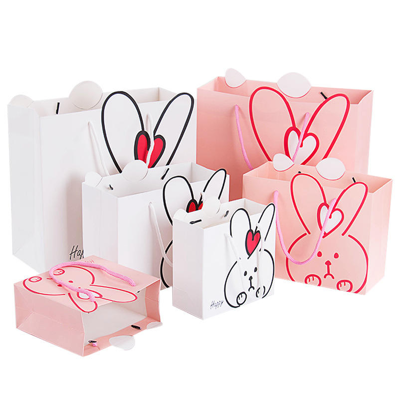 Eco-Friendly Cute Greaseproof Carrier Shopping Paper Pouch Bag for Baby Gift Paper Bag
