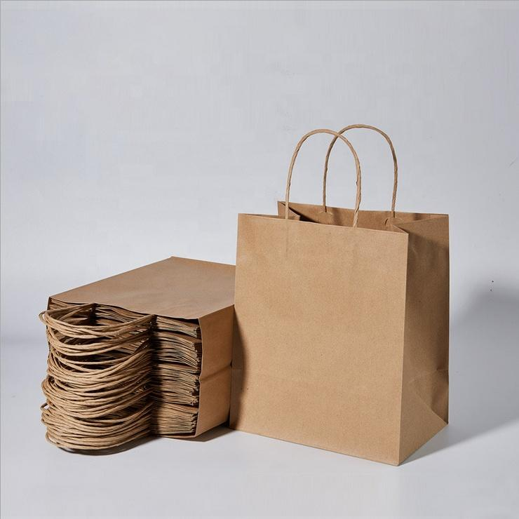 Premium Printing Foldable Plain Brown Kraft Paper Carrier Bag for Coffee