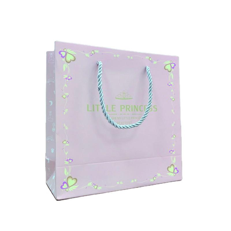 Blue and Pink Gift Paper Bags Small Size Custom Logo Paper Bag with Handle for Baby Shower