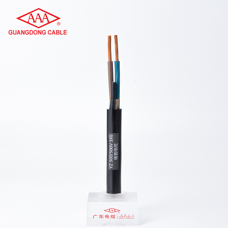 YZ 300/500V 3x6mm2 Copper Conductor Middle-Sized General Rubber Cable