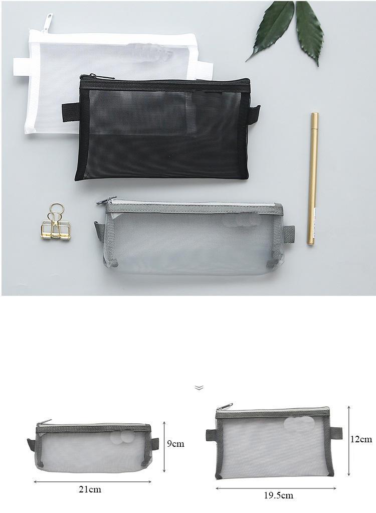 Pencil Bag Transparent Mesh School Pencil Case Large Capacity Nylon Pen Bag Case For Kid Gift Office Supplies Creative