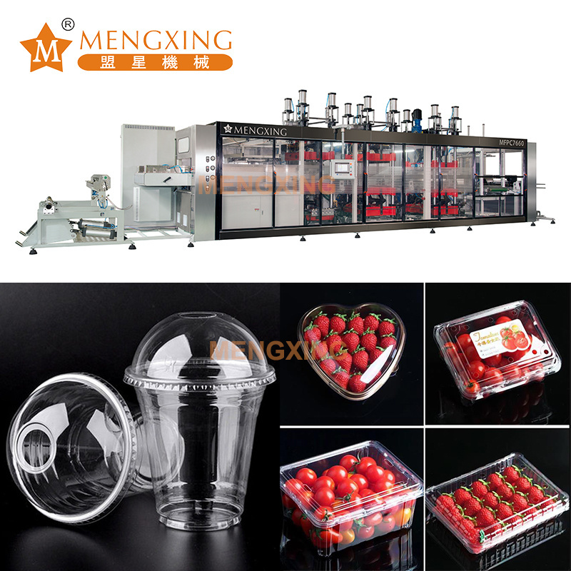 Mengxing Punching Hole Vacuum Forming Food Package Products Machine with Cutting Function Thermoforming Machine