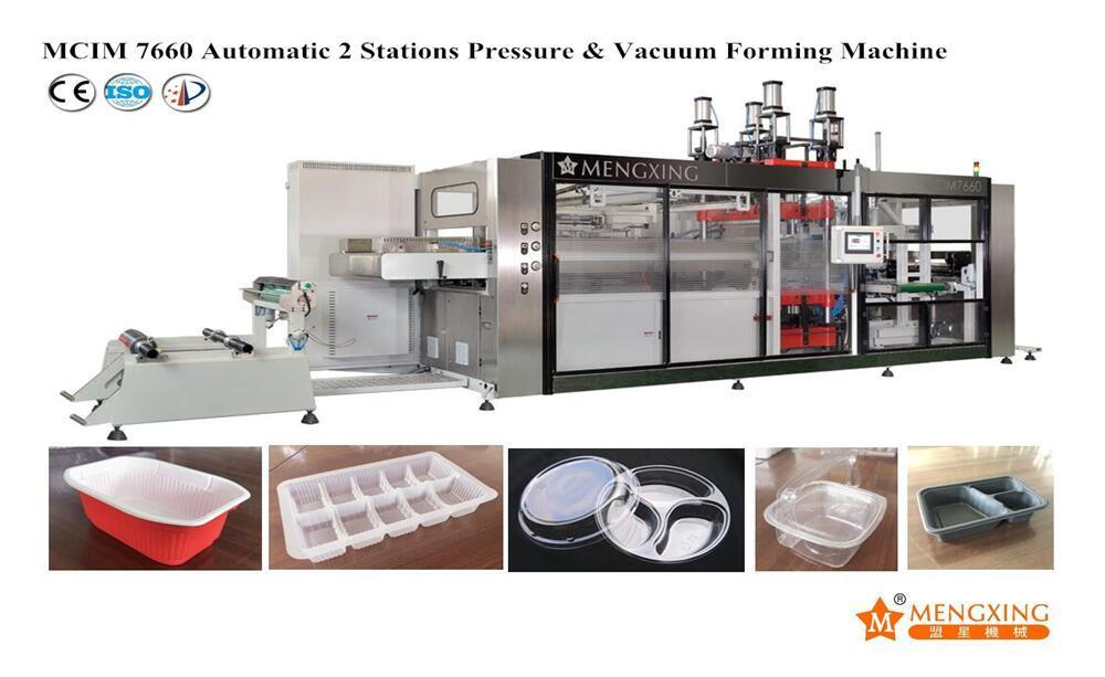 Automatic Plastic Food Fruit Meat Plate Contaiers Thermoforming Machine with Stacker for BOPS PS Material