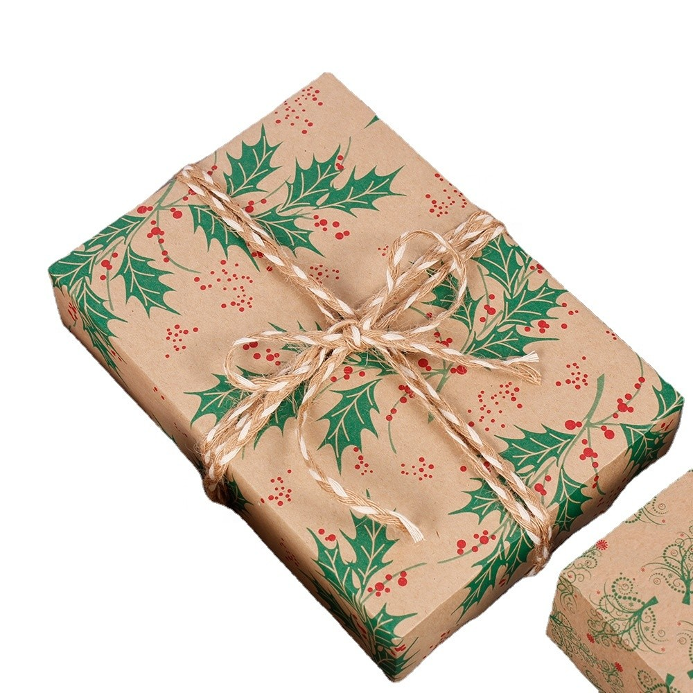 Recycled Materials Wrapping Rolling Papers In Brown Kraft Paper With Double Sides Printing For Gift Packaging