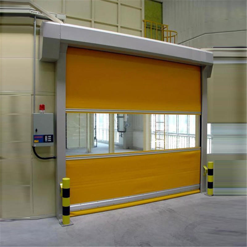 Yellow 3500mmH*5000mmW Industrial Yellow Plastic/PVC Automatic Exterior/Interior Fast Roller Shutter High Speed Door