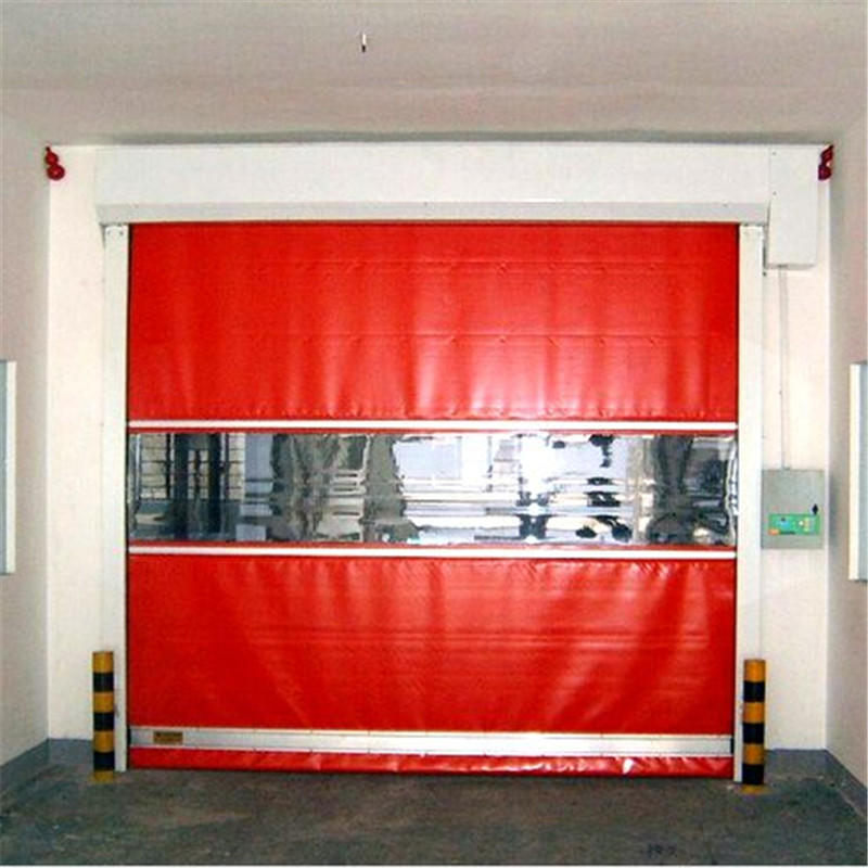 Red 3500mmH*5000mmW Industrial Plastic/PVC Automatic Fast Roller Shutter High Speed Door