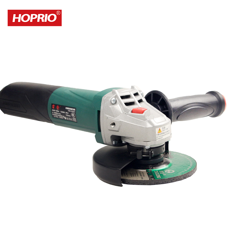 Hoprio China Hand Tool Manufacturer 5 Inch 1250W Brushless Industrial Angle Grinder Free Maintenance