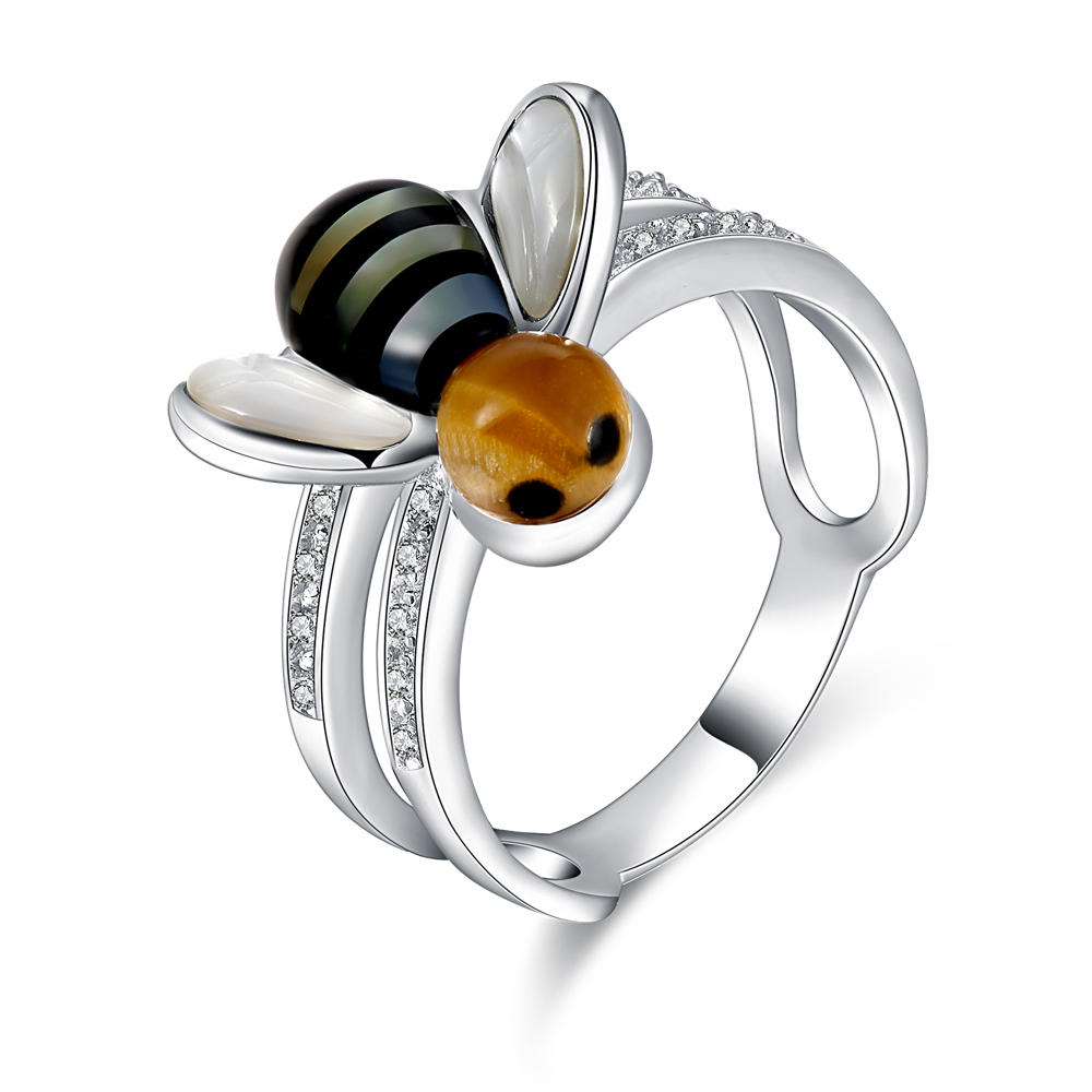 Graceful Fancy Pave Setting Silver Animal Gemstone Jewelry