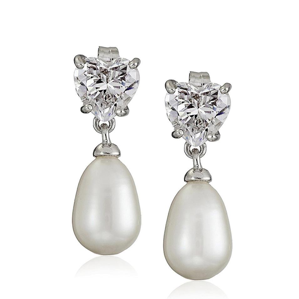 Teardrop shape gemstone silver bijoux faux pearl earrings