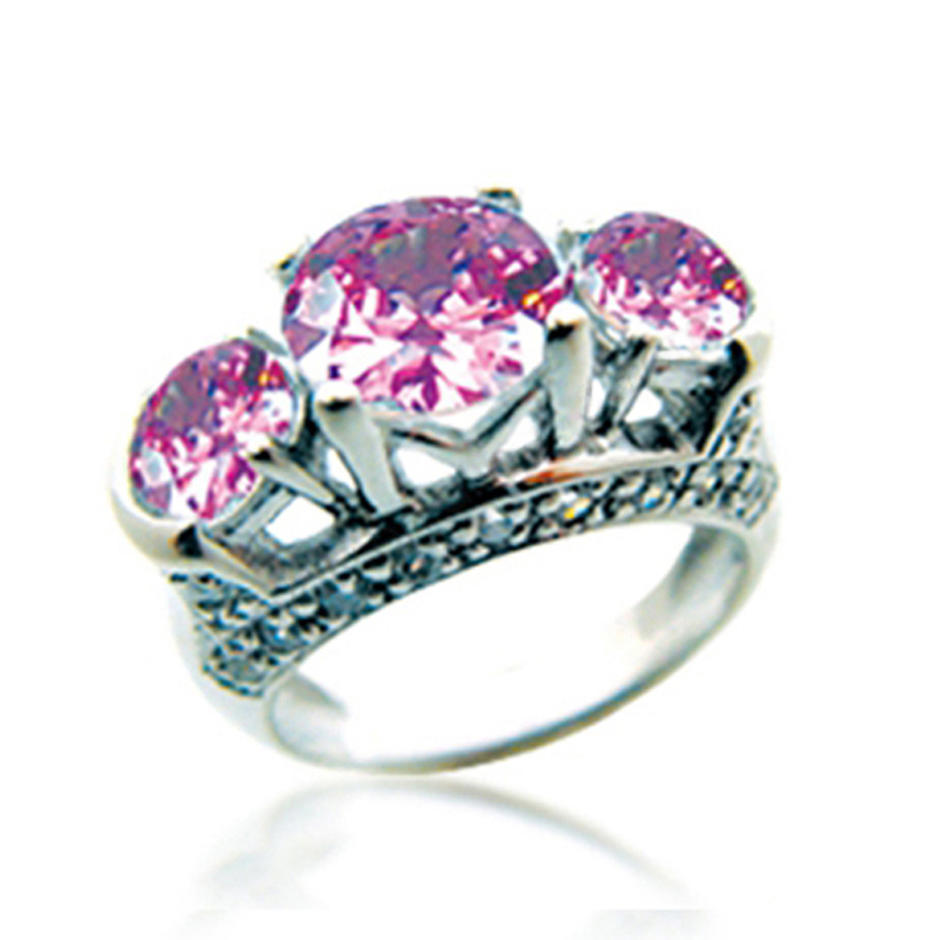 Three pink gemstone wholesale nepal silver rings jewelry