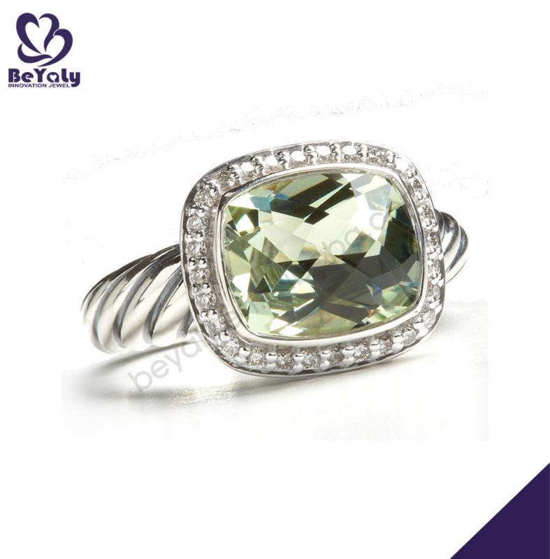 Dazzling green gemstone jewelry thai silver rings for men