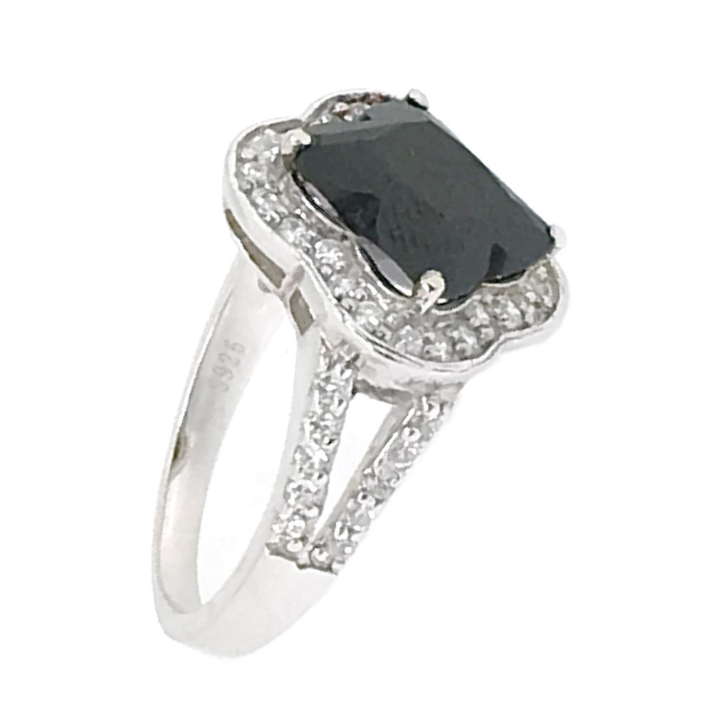 Awesome anime star design 925 silver zircon black and white ring