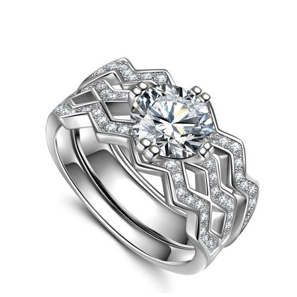 Good Anniversary Wave Design 925 Silver China Cz Rings For Couples