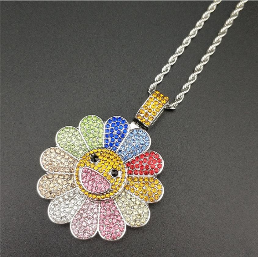 Women's Jewelry Sunflower Shape Bijoux, Rotating Colorful Sunflowers Necklace