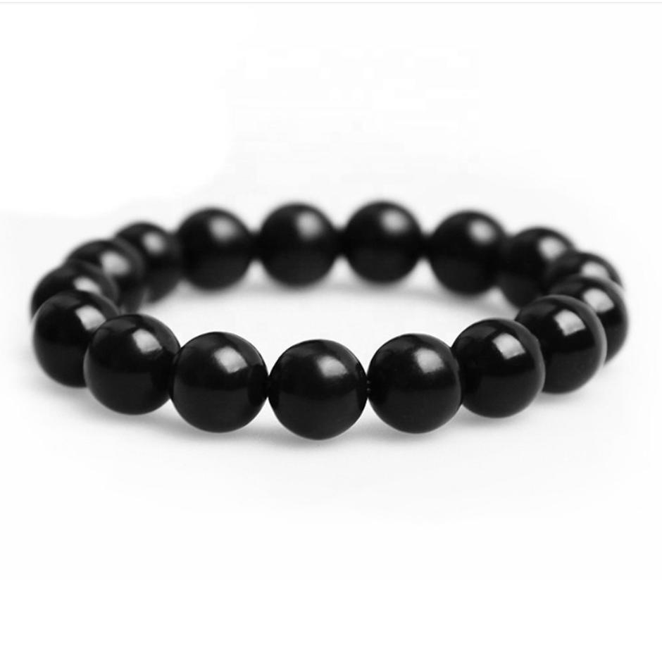 Fashion Men Black Woven Jade Beaded Wrap Bracelets