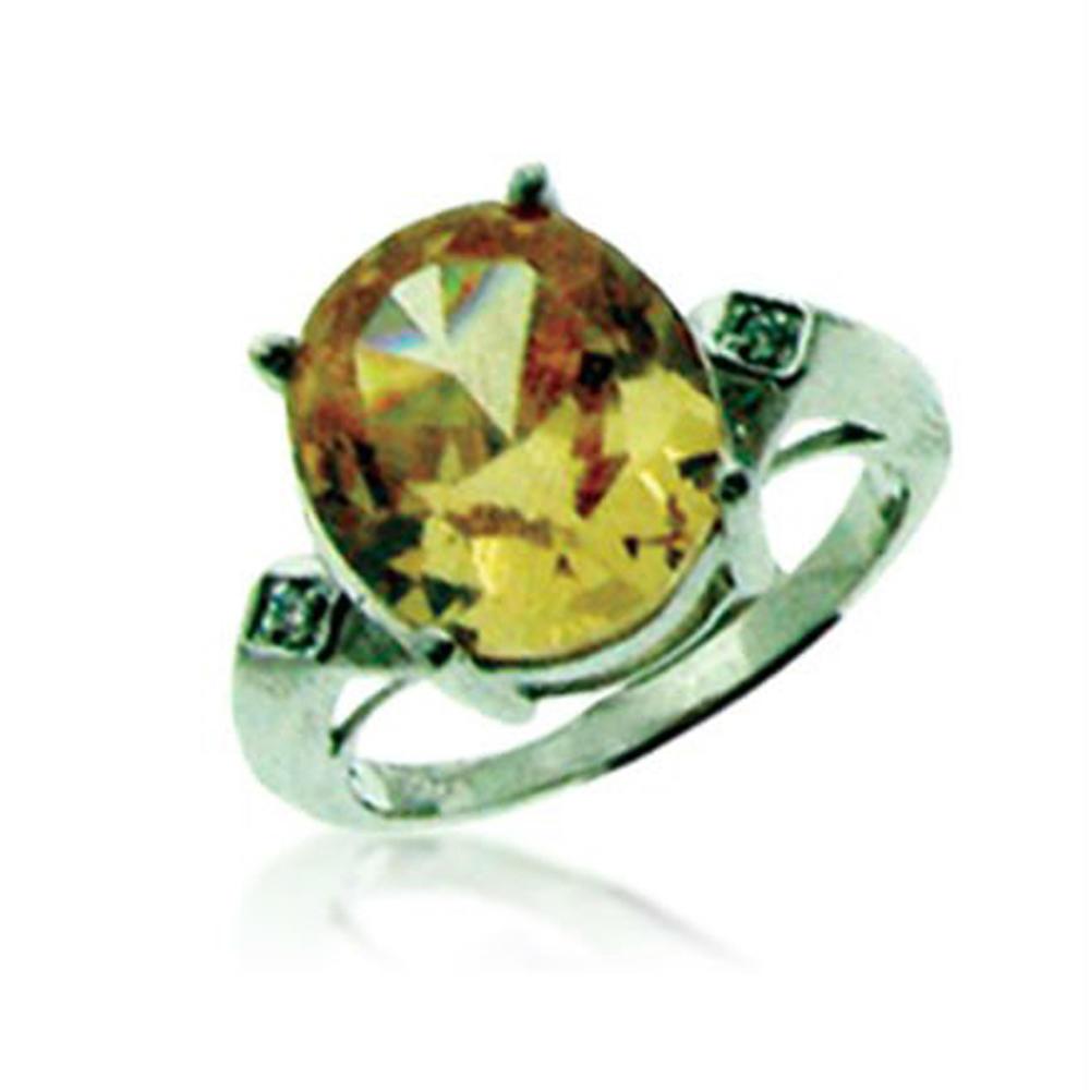 Cool Stylish Yellow Zircon Silver White Sapphire Rings
