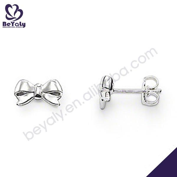 Shiny polish bow shape wholesale silver earings women