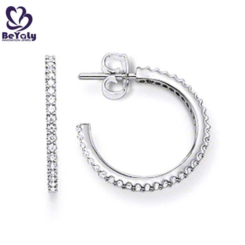 Vogue style big size silver cuff brooch and earring set