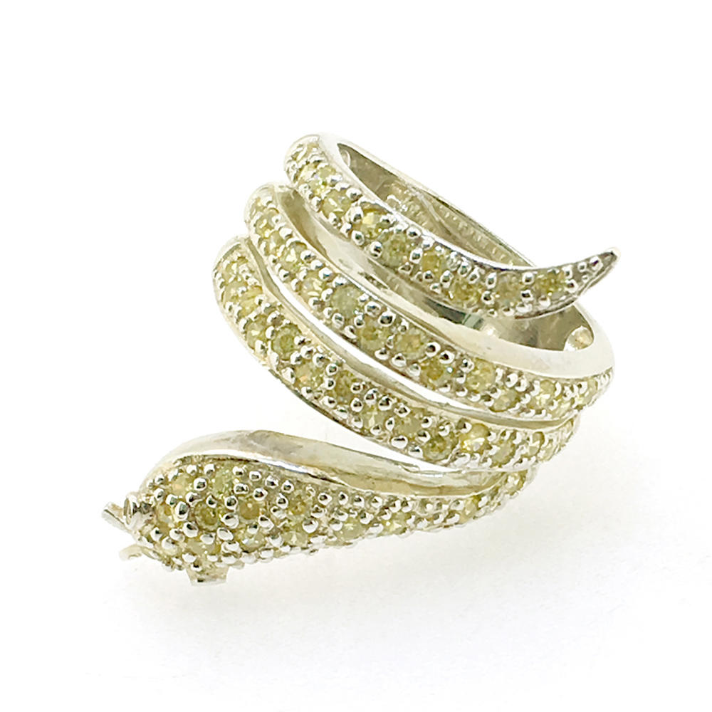Hot sell 925 silver snake rings with yellow CZ