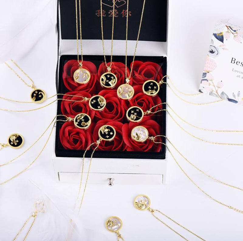 White Shell Star Series Design Zodiac Sign Birthday Necklace Jewelry