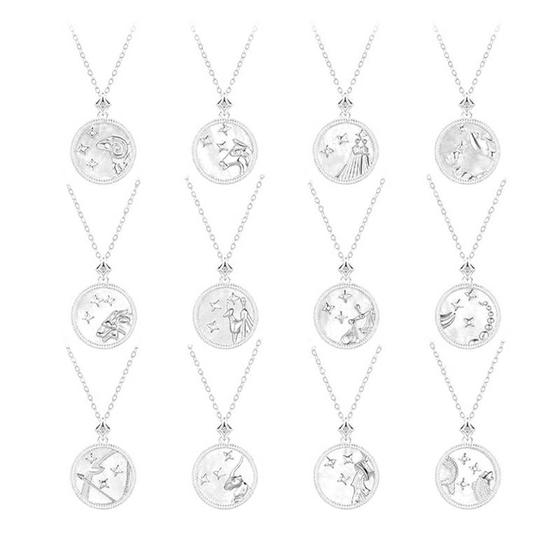 Round Blue Shell Star Series Birthday Zodiac Sign Necklace Design