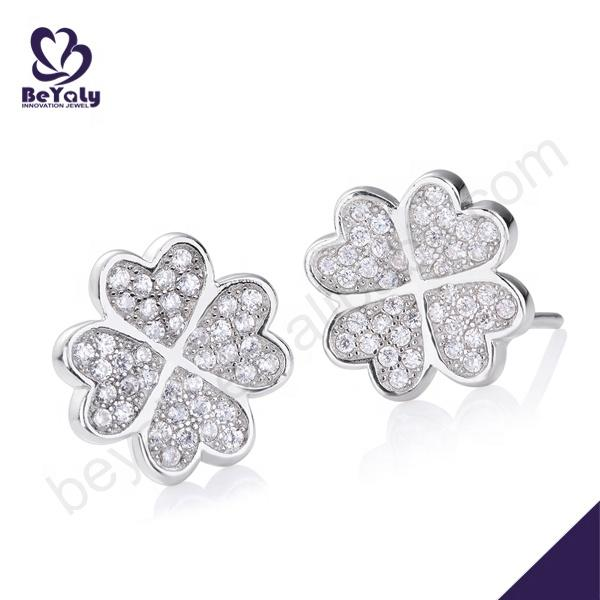 Hot Selling Four-Leaf Clover 925 Silver Earring Jewellery
