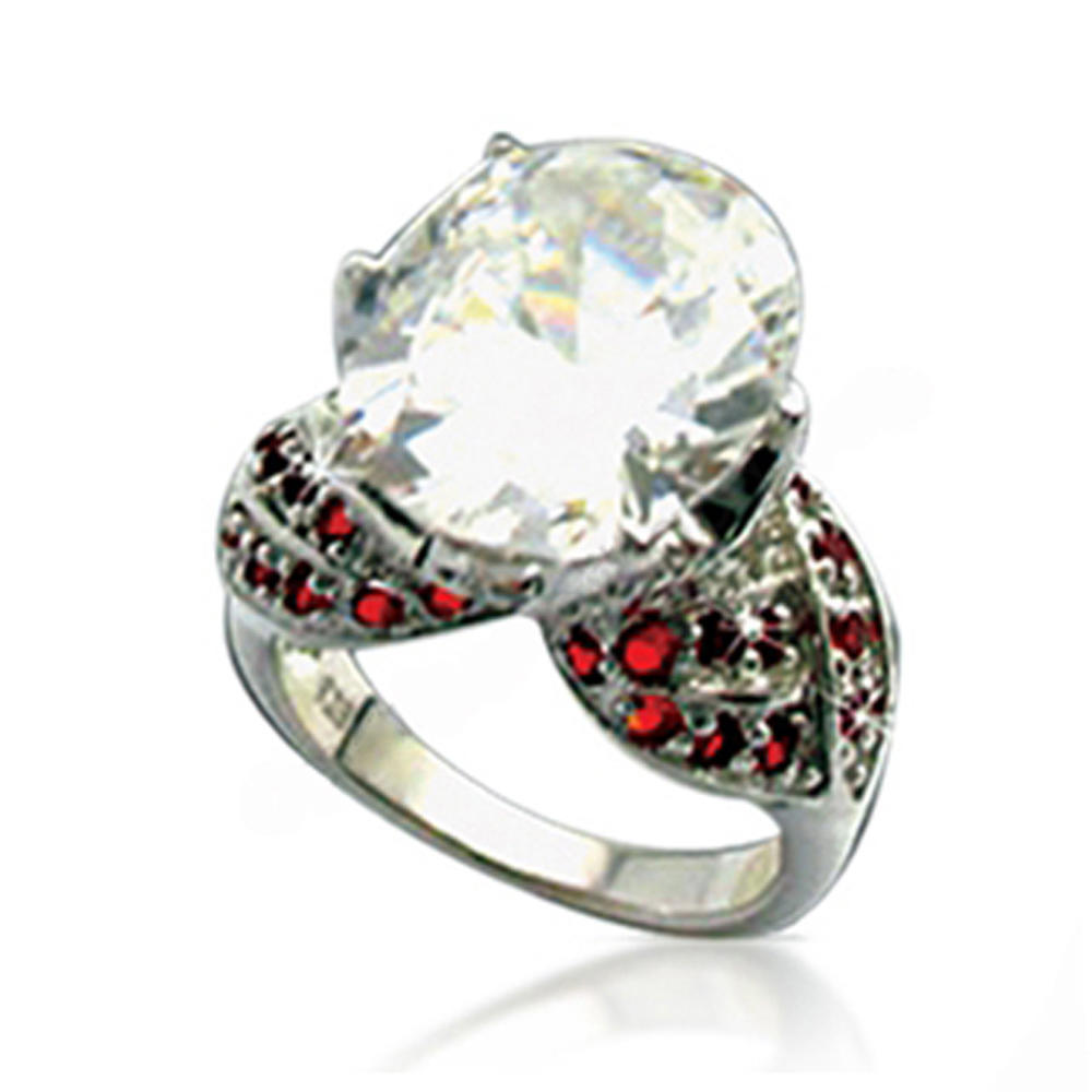 Sweet style garnet ruby silver alternative wedding rings