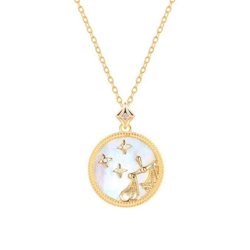 Birthday Zodiac Libra Solid 925 Silver Jewelry Pendant Necklace
