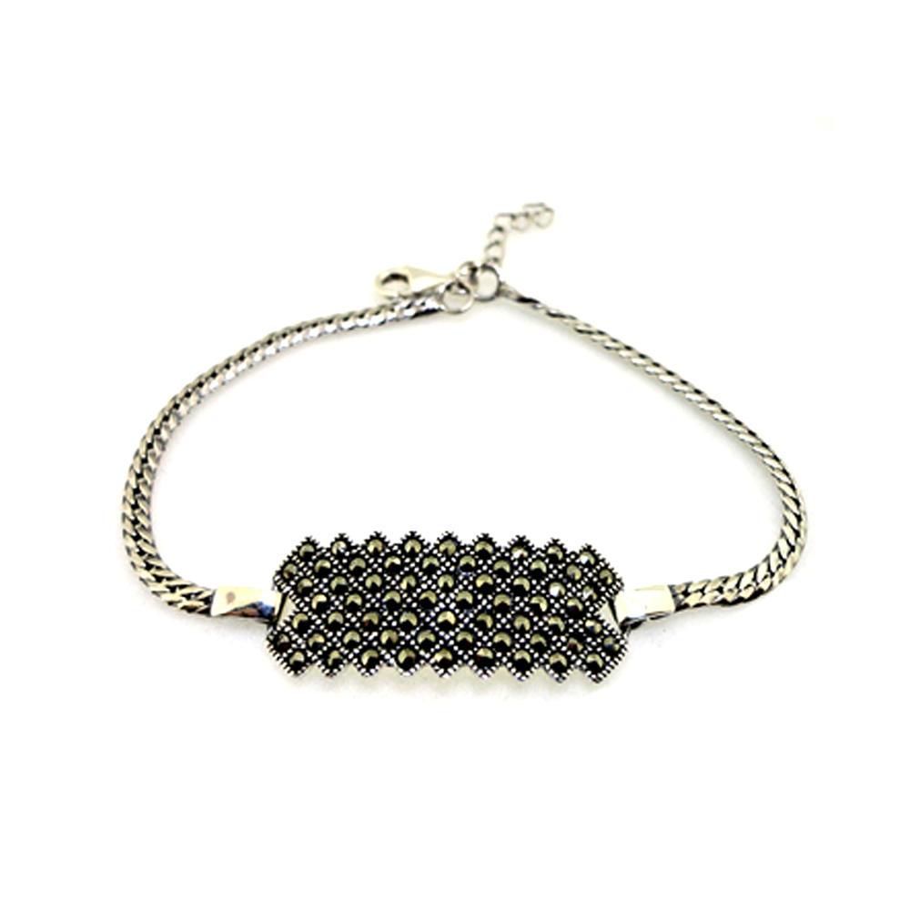 Black beads fashion women silver macrame bracelet
