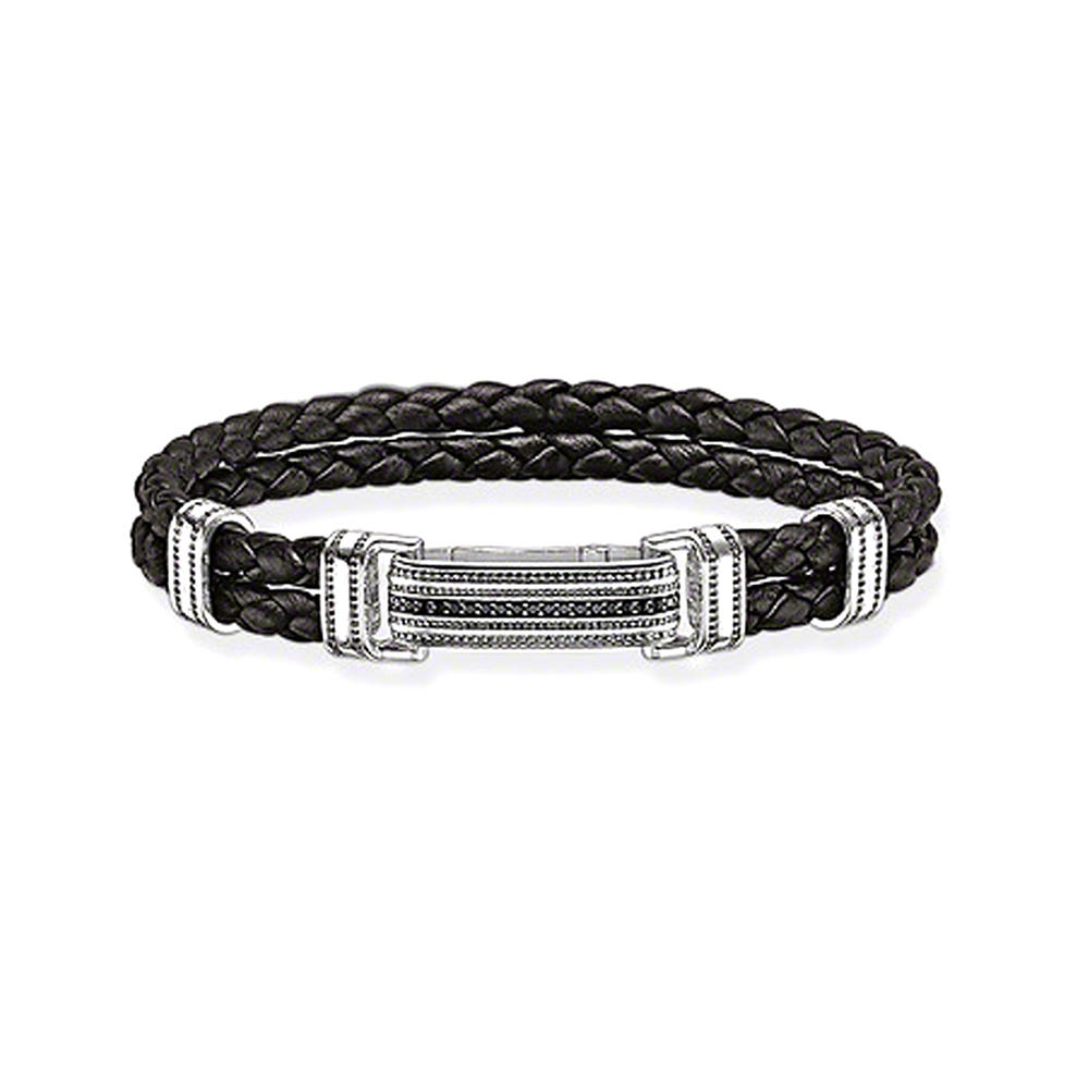 Shiny black braided leather silver wholesale men's bracelets