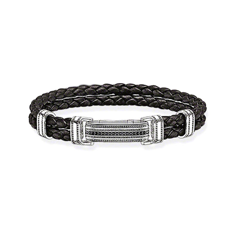 Shiny black braided leather silver wholesale men's bracelets