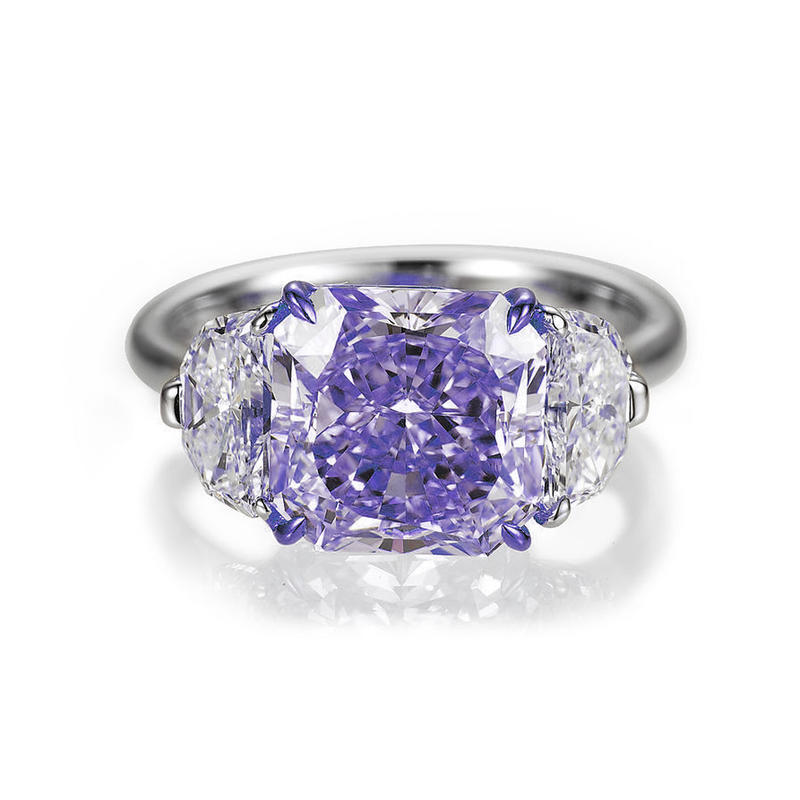 Graceful Fancy Gemstone Silver Bijoux Glass Engagement Ring