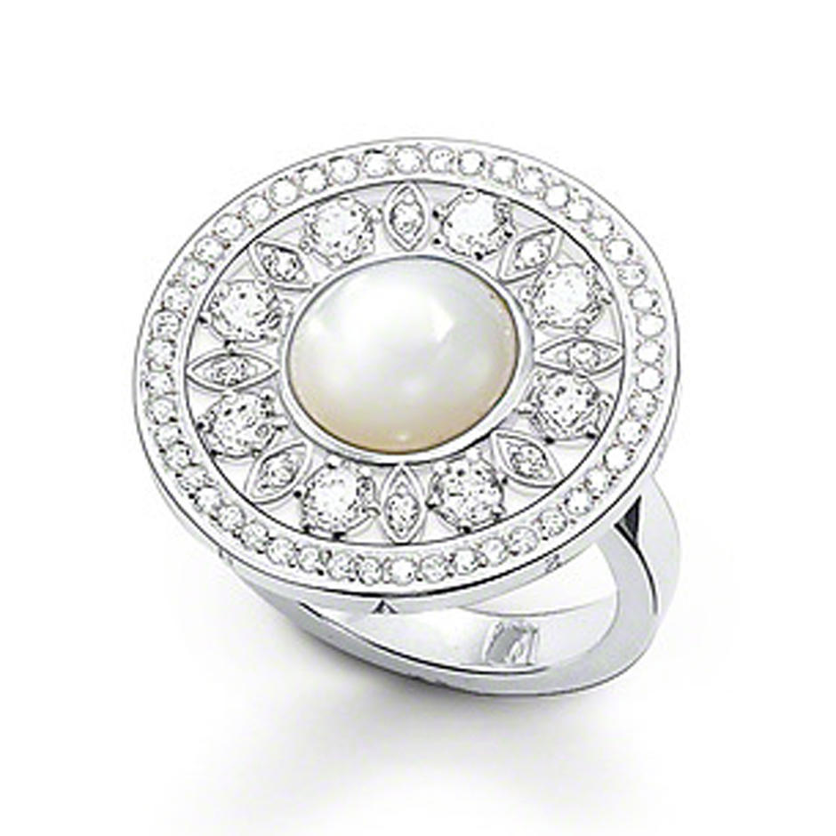 Good accessory round sun shape silver crown pearl ring