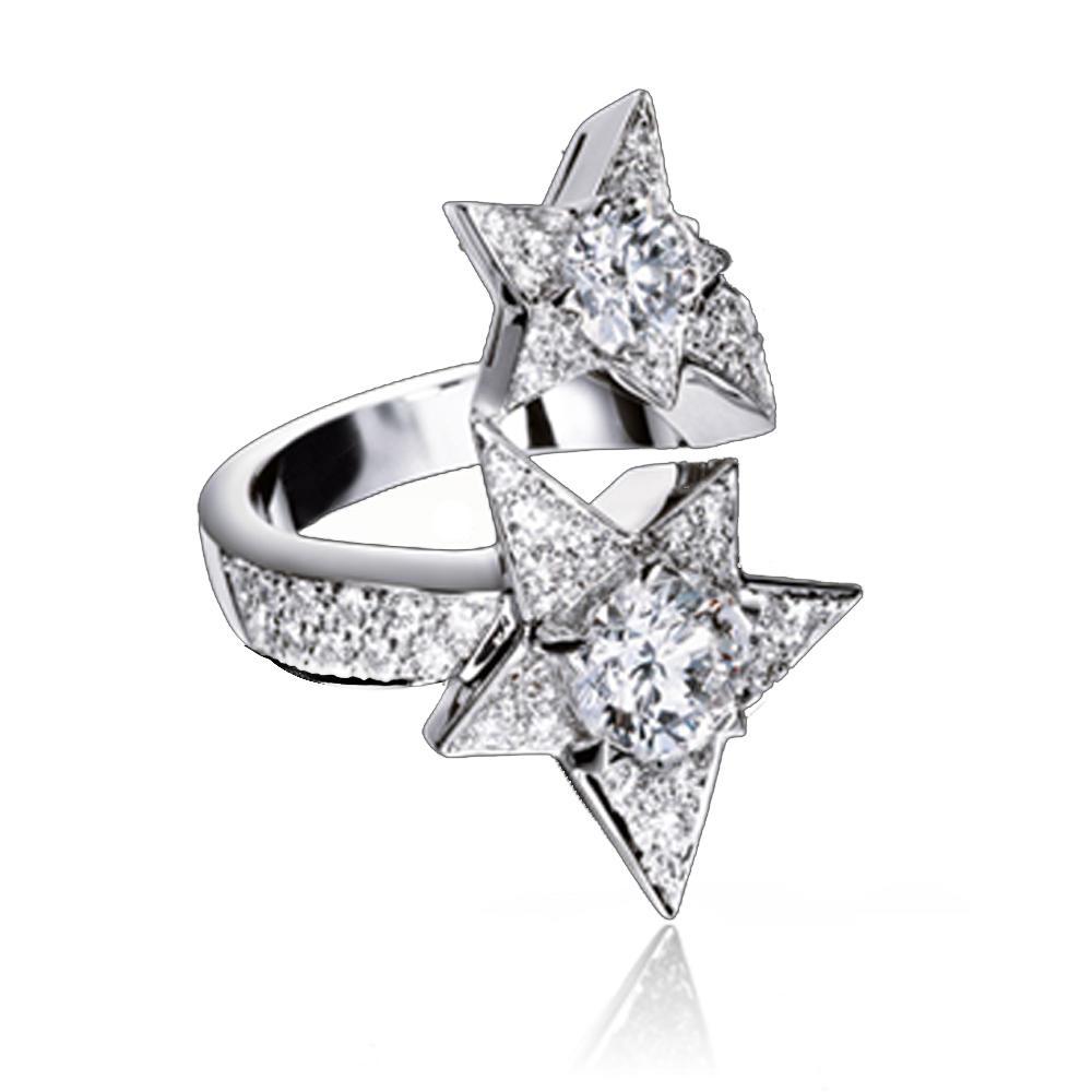 Refined star shape design cz silver handcuff rings