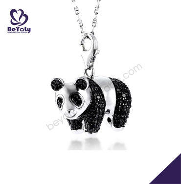 Cute silver panda pendant with lovely panda shape for men and women