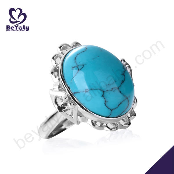 Wholesale elegant silver oval blue opal stones jewelry