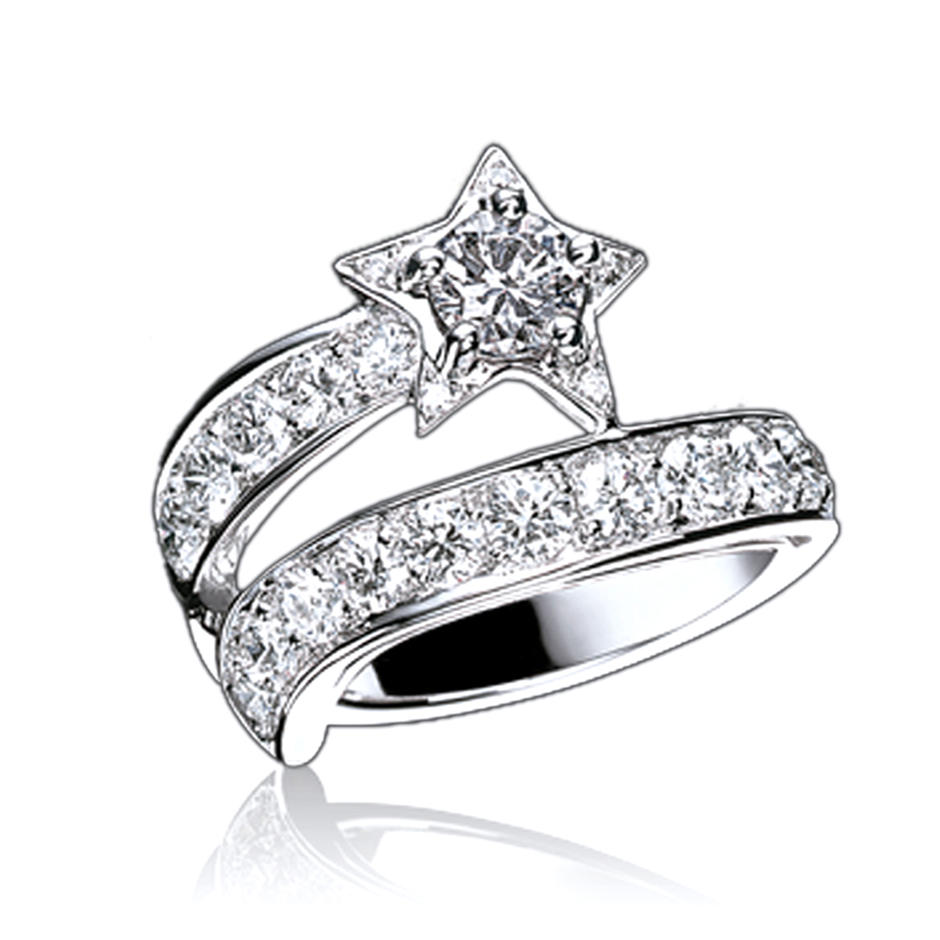 Refined star shape design cz silver handcuff rings