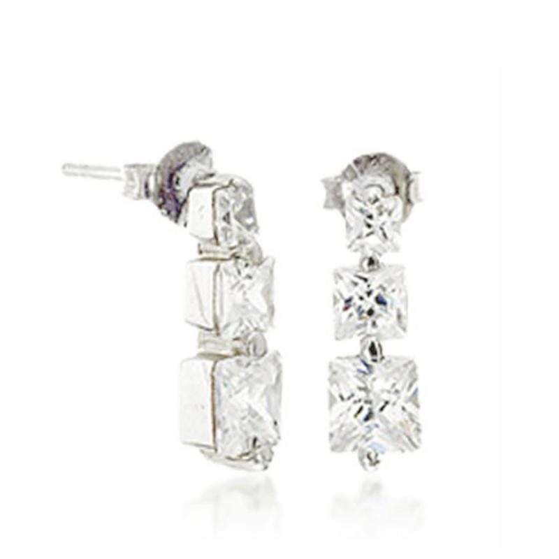 Generous chic fashion stylish clear square silver dice earrings