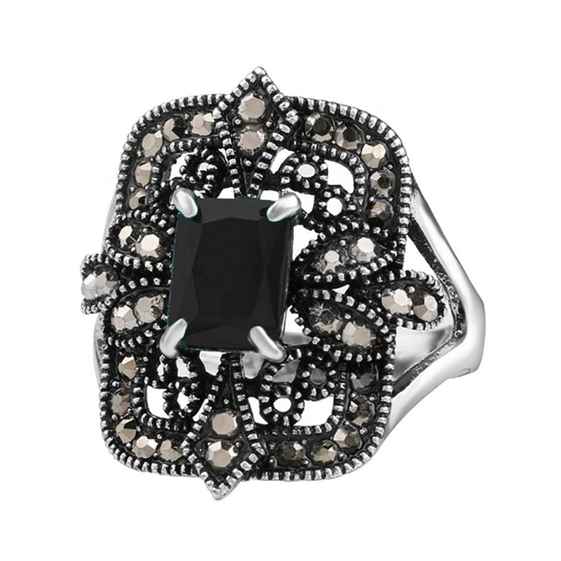Luxurious black onyx cross design silver new trend man ring