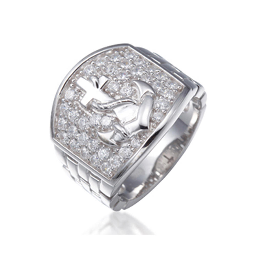 2019 New Trendy Silver Token Ring With Cross Pattern