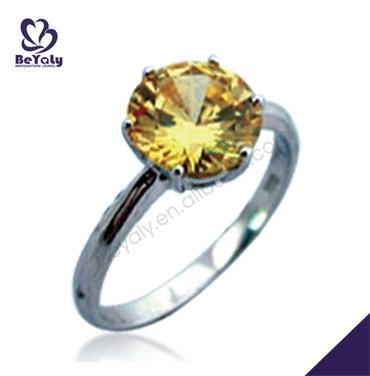 Yellow amber charming silver women love mood ring colors