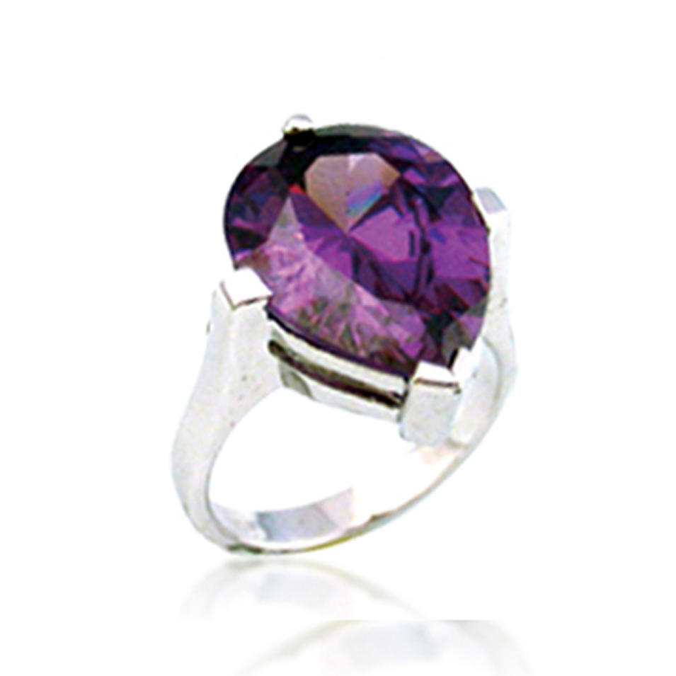 Wholesale chic violet crystal silver scottish wedding rings