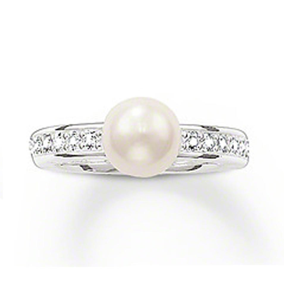 Prong setting cz silver handmade wholesale real pearl rings