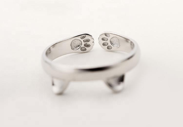 High quality adjustable cat shape silver animal rings